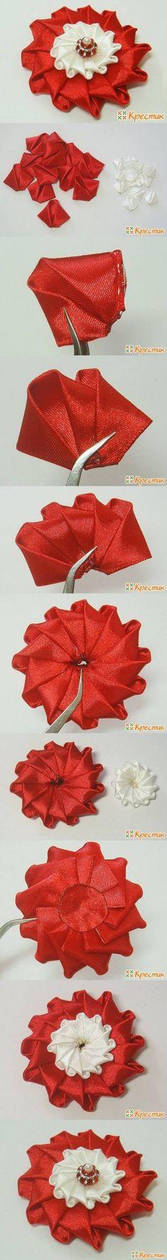 DIY Bright Satin Ribbon Flower DIY Projects