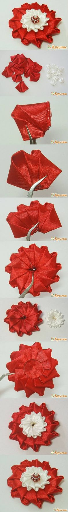 DIY Bright Satin Ribbon Flower DIY Projects