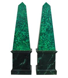 A pair of large French faux malachite obelisks. Of good scale and hand painted. c.1950's Measure: 134cm high x 36cm wide x 36cm deep   Stock Code ET02627