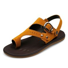Mens Designer Sandals Suede Leather Men Sandalias Planas Male Casual Plate Zapatos De Verano Khaki Yellow Size 37 38 to 45