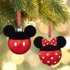Disney Mickey & Minnie Mouse Hallmark Christmas Glass Ornaments Set 2 for sale online Disney Christmas Crafts, Mickey Mouse Christmas Tree, Mickey Mouse Ornaments, Disney Christmas Decorations, Christmas Ornament Crafts, Hallmark Christmas, Noel Christmas, Xmas Crafts, Holiday Ornaments