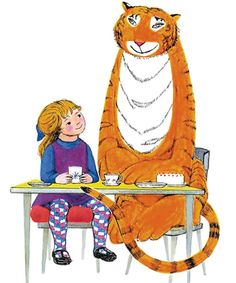 The Tiger Who Came to Tea.always impressed when he drinks ALL the water from the taps, but like that they get to go out for tea. Oh and aren't phased by a tiger just popping round at random Tea Live, Cat Crying, Tea Illustration, 90th Birthday, Book Characters, Photos Du, Cat Art, Childrens Books, Illustrators