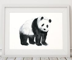 Cute panda poster. Lovely nursery decor. Nice watercolor art print. BUY 1 GET 1 FREE - use coupon code 777FOXY at checkout. Comes in two sizes: