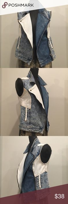 Mixed denim moto vest Mixed denim moto vest with asymmetric zip closure. Medium, light, and acid wash details throughout vest design. UK brand, fits like a small/medium. Size UK10 waredenim Jackets & Coats Vests