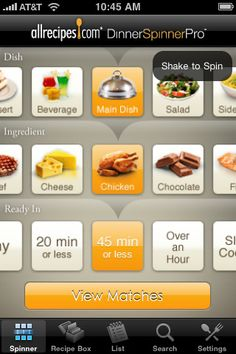 Allrecipes.com Dinner Spinner Pro.  Comes in very handy when you need inspiration at the grocery store. :-)