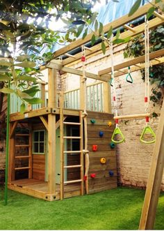 Backyard Dog Play Area Ideas 20 Cool Outdoor Kids Play Areas For Summer Childrens Backyard Play Area Ideas Small Backyard Play Area Ideas Backyard Playhouse, Build A Playhouse, Backyard Playground, Backyard For Kids, Playhouse Ideas, Playground Ideas, Playground Design, Garden Kids, Wooden Playhouse