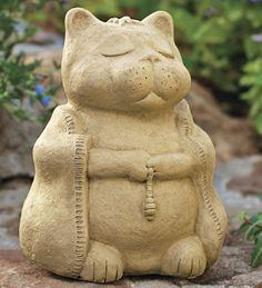 """Найти внутренний мир на пути юмора. Наш """"Будда Cat"""" отливается из бетона и показано медитации с четками и халат (обратно показывает символ для """"независимости""""). Разработанный Майкл Gentilucci; созданный в Калифорнии. Размер Large 8-1 / 2 """"H х 6"""" W Малый 5 """"H х 5"""" W Large Meditating Cat  - 29.95 $ - 59.95 $"""