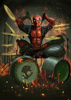 #Deadpool #Fan #Art. (Deadpool Loving Rock and Roll) By: Nathanielz15. (THE * 5 * STÅR * ÅWARD * OF: * AW YEAH, IT'S MAJOR ÅWESOMENESS!!!™)[THANK U 4 PINNING!!!<·><]<©>ÅÅÅ+