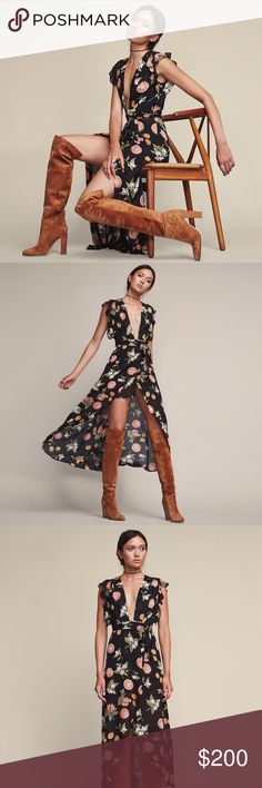 Reformation Charlene Dress in Fruitcake Worn only once and for a couple hours. Charlene dress. Perfect transition piece into fall. Maxi with deep V neckline, sheer ruffled sleeves and an adjustable wrap skirt. Reformation Dresses Maxi