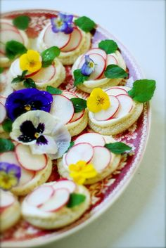 Flower and radish tea sandwiches with wasabi lemon mayonnaise (recipe)