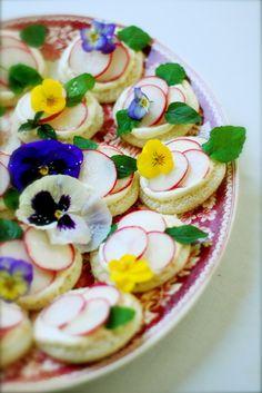 Flower and radish tea sandwiches with wasabi lemon mayonnaise (recipe)