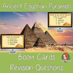 Ancient Egyptian Pyramids Revision Questions  This deck revises children's knowledge of Ancient Egyptian Pyramids. There are multiple choice revision questions to check children's understanding. Teaching History, Teaching Kids, Teaching Resources, All About Me Crafts, Role Play Areas, Multiple Choice, English Lessons, Lesson Plans, Egyptian