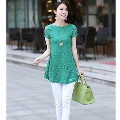 Women's Kaleidoscope Lace dress Big Yards Short Sleeve T Shirt – USD $ 16.24