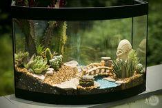 """Já pensou em transformar os objetos da sua casa? A Vivian, nossa cliente, sim! Ela nos deu a honra de transformar o seu antigo aquário em um lindo mini mundo! Ou, como diria ela, """"um big mund…"""