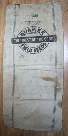 Two vintage and worn feed or grain sacks. Crop Field, Grain Sack, Sacks, Etsy, Vintage, Stencil, Vintage Comics, Burlap Sacks