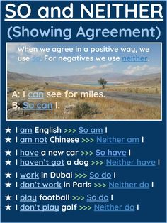 Showing agreement so/neither