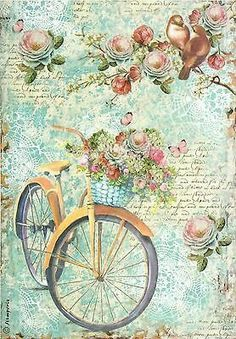 A romantic bike ride on Stamperia decoupage rice paper. Great blues and vintage flowers, and script for your decoupage projects. Get them at Decoupage Designs USAStamperia Ριζόχαρτο Decoupage Bicicletta E Ramo FioritoRice paper beautifully printe Decoupage Vintage, Papel Vintage, Floral Vintage, Art Vintage, Vintage Ephemera, Vintage Cards, Vintage Paper, Vintage Flowers, Vintage Postcards