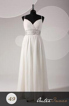 Sleeveless A-line White Spaghetti Straps Sweep/ Brush Train Prom Dresses Style Code: 06666