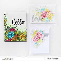 Altenew Blooming Bouquet watercoloured cards by Erum Tasneem - @pr0digy0