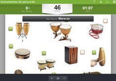 Recurso Educaplay de Marcelo Gálvez Jiménez, que permitirá conocer mejor algunos instrumentos de percusión. Place Cards, Place Card Holders, Maps, Interactive Map, Music Class, Getting To Know, Musicals, Activities, Display