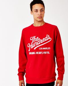 The Hundreds Tradition Crew Neck Sweatshirt in Red Crew Neck Sweatshirt, Graphic Sweatshirt, The Hundreds, Street Wear, Mens Fashion, Sweatshirts, Style, Men Fashion, Man Fashion