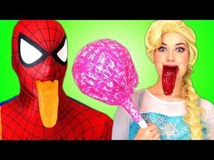 Spiderman With Frozen Elsa & Giant Gummy Candy Chuppa Chups, Pink Spider...