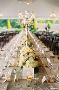 Mercury Gl Pillar Candles Instead Of Candelabra With Low Arrangements And Votives Reception Decorations Wedding