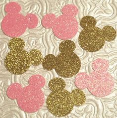 Minnie Mouse Mickey Mouse face in pink & gold glitter confetti die cuts birthday party baby shower gender reveal onederland invitations table decoration Disney World