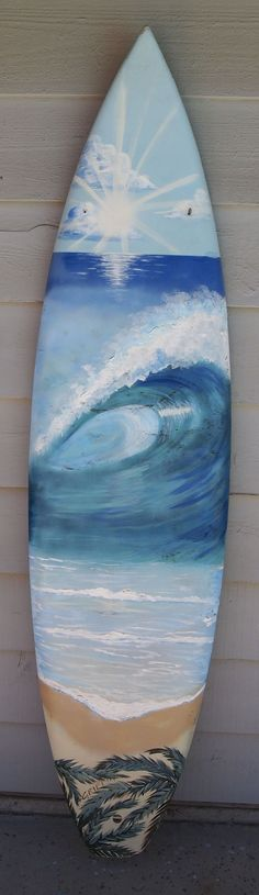 Hand painted wave curl surfboard mural by B. Griffin!