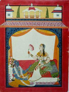 Krishna Massaging Radha's Feet.  Present Location: U-M Museum of Art. Location: Mankot, Chamba District, Himachal Pradesh, India. Date: ca 1730 CE