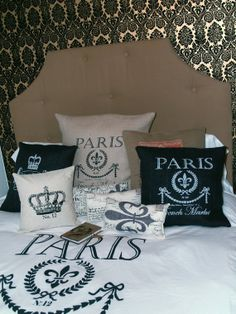 French Market Egyptian Cotton Duvet Cover, Shams with Ornate Fleur De Lis Scroll Work - USD$175