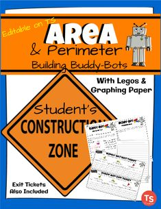 Great editable classroom materials @teachersherpa Your students will LOVE designing and creating their own Buddy-Bots as they show what they know about AREA in math. This activity includes a Buddy-Bot planning & recording page, graph paper, an Exit Ticket, & a Construction sign for the classroom. Use this at a math center or as a whole group activity.