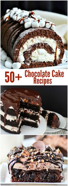 Over 50 Chocolate Cake recipes that are soo good! These desserts are amazing. Everything from cupcakes to frosting these recipes will be a hit this holiday season. Cupcakes, Cupcake Cakes, Decadent Chocolate Cake, Chocolate Desserts, Cupcake Recipes, Dessert Recipes, Cake Roll Recipes, Just Desserts, Delicious Desserts