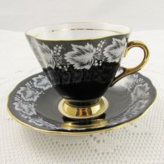 Windsor Black Tea Cup and Saucer with White Leaves, Vintage Bone China