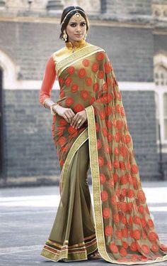 Decorous Light Brown Saree with Designer Blouse