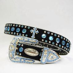 Western Bling Belts with Blue Gems and Crosses