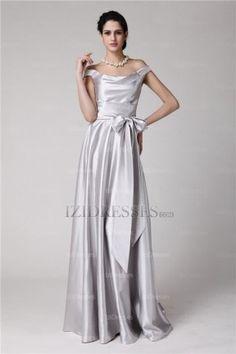5e1576c4be7 A-Line Sheath Column Off-the-shoulder Satin Evening Dresses - IZIDRESSES
