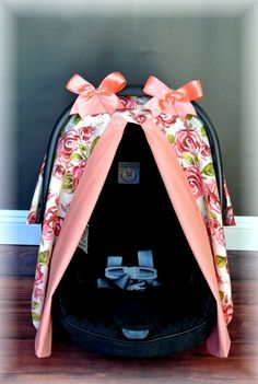 SHABBY CHIC carseat canopy car seat cover coral