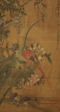 """Chinese Hanging Scroll : 惲 寿平 YUN SHOUPING """"Flowers and Birds""""  @z381"""
