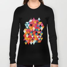Vintage Summer Color Palette - Hipster Geometric Triangle Pattern Long Sleeve T-shirt by Pelaxy - Black - LARGE - Long Sleeve T-shirt Geometric Pattern Design, Triangle Pattern, Summer Colors, Stylish Outfits, Hipster, Orange Yellow, Long Sleeve, Layering, Cotton