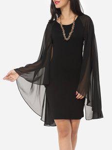 Plain Cape Sleeve Dramatic Round Neck Bodycon-dress
