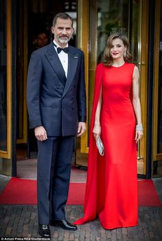 Queen Letizia stunned in a floor length red gown from Stella McCartney as she and husband King Felipe VI attended the 50th birthday dinner of King Willem-Alexander