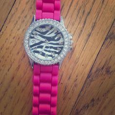 Pink sequin watch Pink adjustable sequin watch with zebra design. Used but in good condition, only worn a few times Accessories Watches
