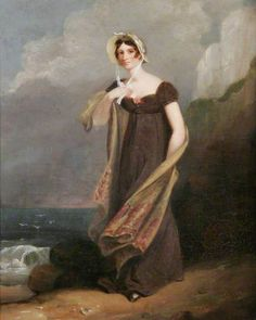 Joseph Clover, Anne, Lady Beechey, 1800-1840. Note that the long stole has colors at each end, but not overall. Bordered shawls/stoles were very popular in this period.