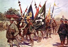 Foreign troops parading captured Boxer battle flags through the streets in Beijing. Military Diorama, Military Art, Military History, Military Flags, Boxer Rebellion, Imperial Army, Historical Pictures, World History, Boxers