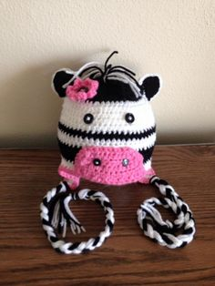Cute zebra inspired ear flap hat