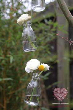 I can just see it: a small meadow decorated with different size glass bottles with flowers, and lanterns - hanging from the trees... <3