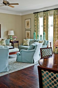 Everything this home can work in most any room in their house. Everything in the living room—the sofa, two club chairs, and two armchairs—has lived and functioned in other areas of the home. #livingrooms #homedecor #southernliving