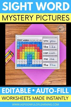 These editable sight word mystery pictures allow you to make mystery pictures using any sight words of your choice. Just type the sight words of your choice and the mystery picture worksheet is created instantly. Students will practice writing the sight words. Then, they will find and color the sight words using the color code. The suspense of what the picture will turn out to be makes this activity so engaging that students do not even realize they are practicing their sight words!