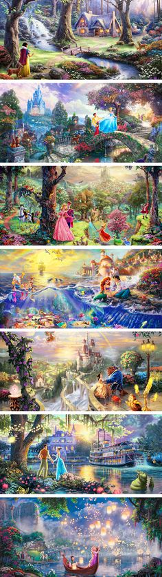 Disney Scenes by Thomas Kincade - my only question is whose castle is it in the background in the Beauty and the Beast one? If that's the Beast's castle, then where are they in the painting?